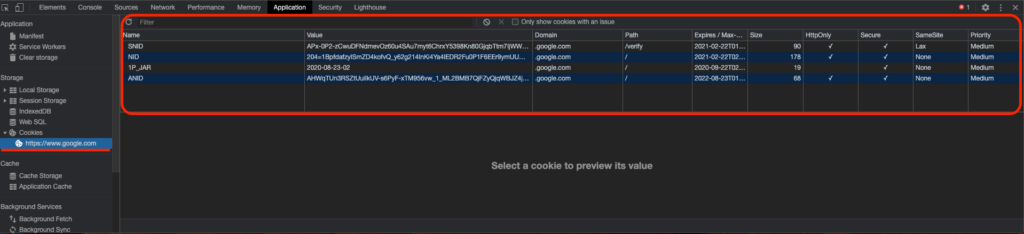devtools application google cookies